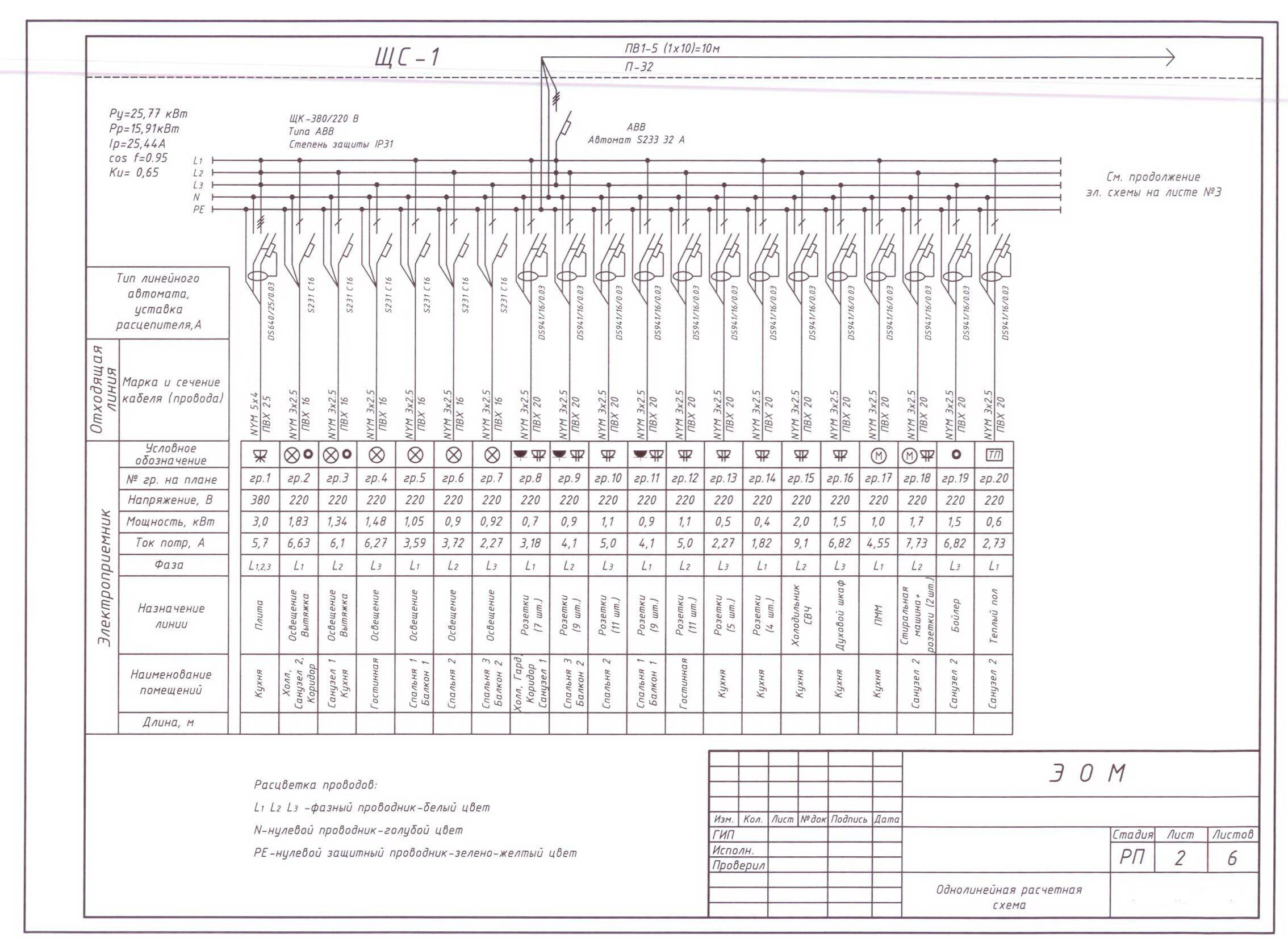 Электрическая схема коттеджей