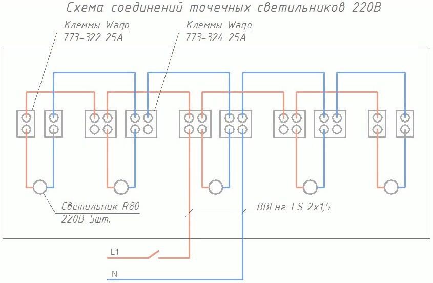 Схема соединения точечных