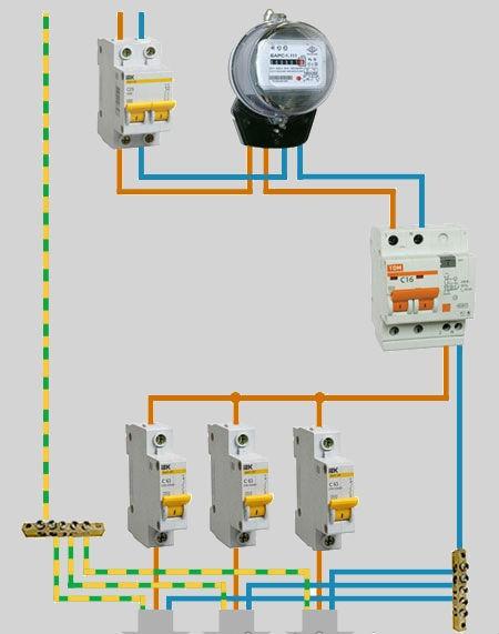 Схема подключения диффавтомата