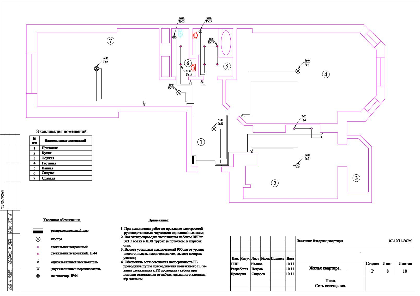 схема электромонтажа однокомнатной квартиры