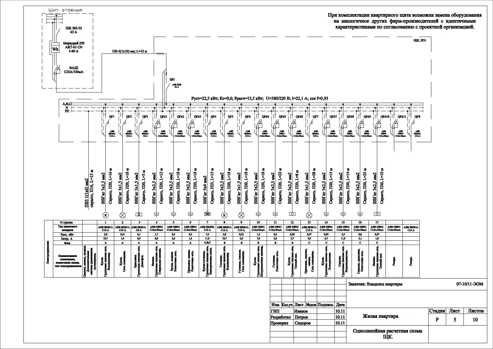 схема двухкомнатной квартиры электромонтажная