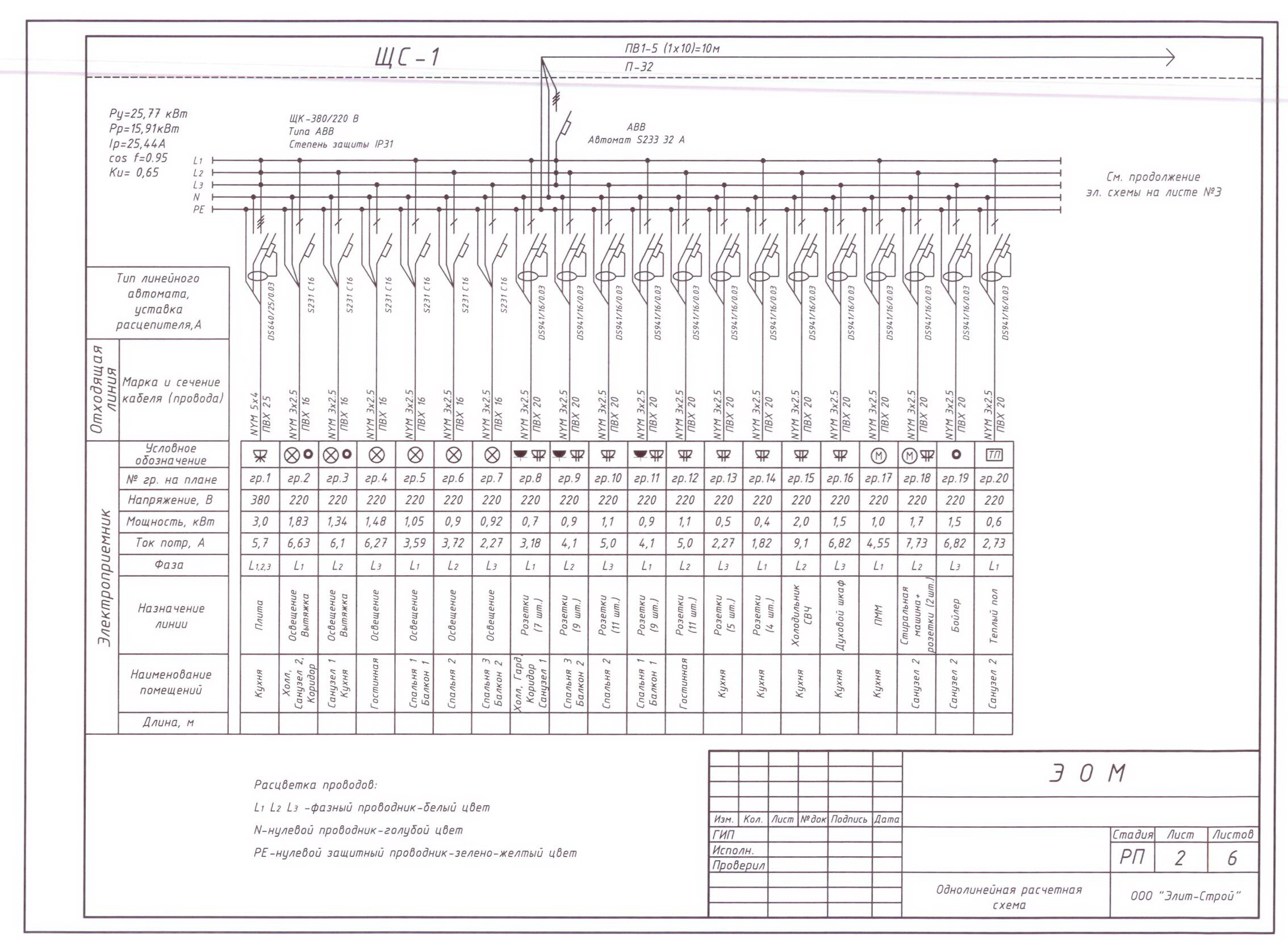 схема электропроводки квартиры 3 фазы