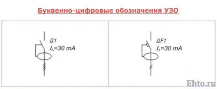 буквенно-цифровые обозначения УЗО-1