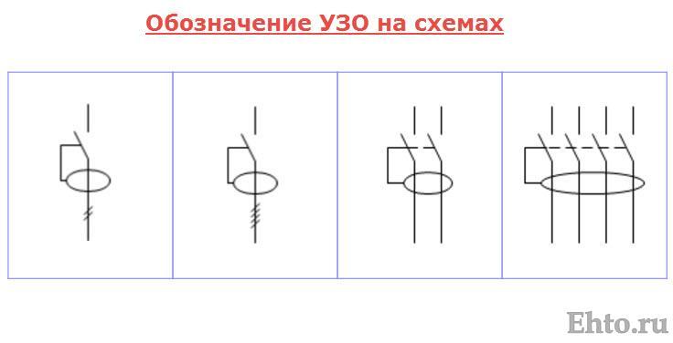 Обозначение на схеме однофазного выключателя