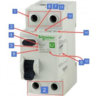 маркировка параметров узо shneider