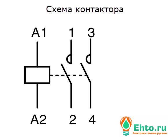 Схема контактора в автокаде