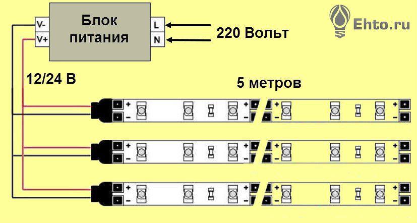 подключить светодиодную ленту схема