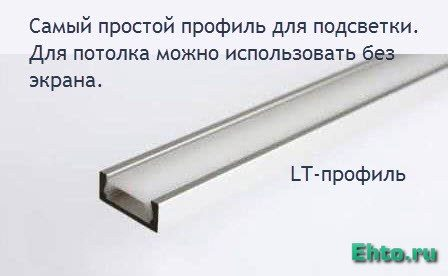 простой профиль для монтажа светодиодной ленты