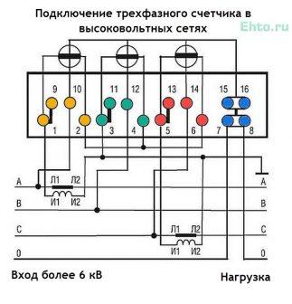 схемы подключения трёхфазного электросчётчика в цепях с напряжением более 6 кВ