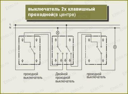 управления освещением с трех мест