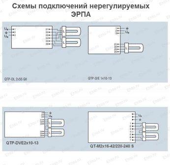 подключения нерегулируемым ЭПРА QTP-DL, QTP-D/L, QTP-DVE