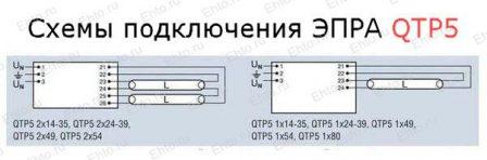подключения нерегулируемым ЭПРА QTP5