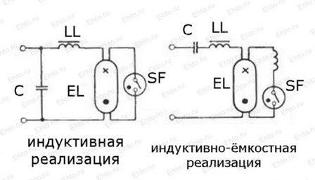 две реализации подключения люминесцентной лампы