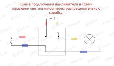 Монтажная схема установки выключателей одна лампа
