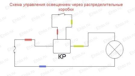 монтажная схема выключателя освещения