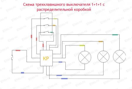схема Выключатель трехклавишный