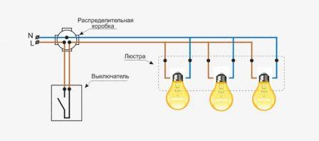 Монтажная схема подключения люстры три лампы
