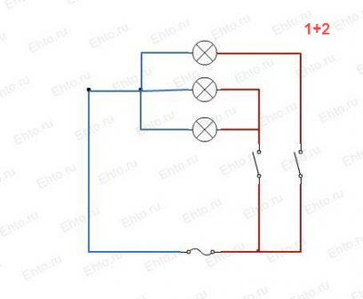 Схема подключения трехламповой люстры