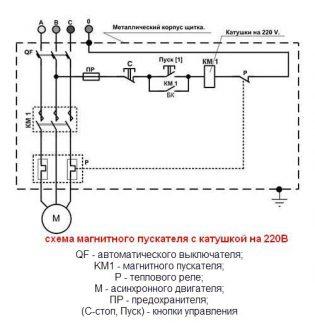 схема пускового аппарата с питанием катушки на 220 В