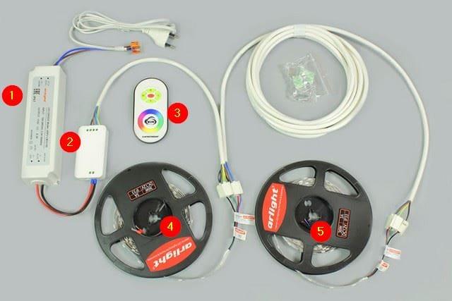 соединении двух и более светодиодные ленты освещения длинами 5 метров
