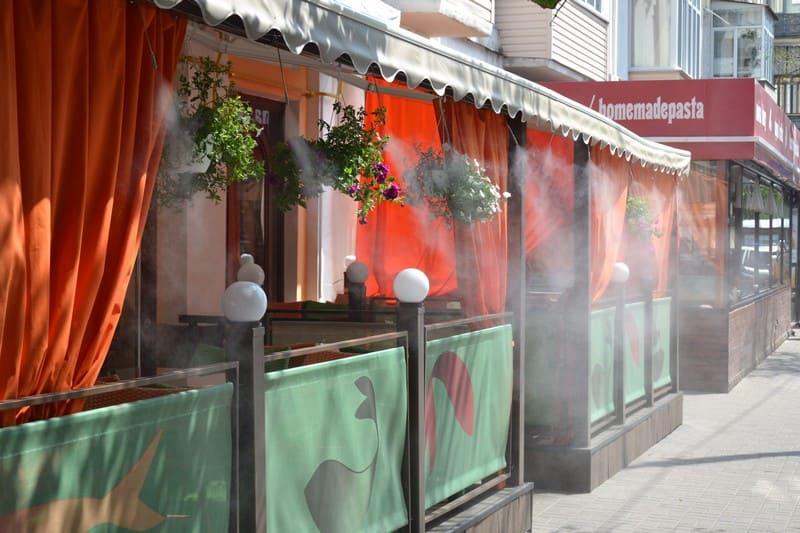Система туманообразования в кафе